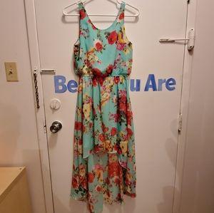 Hi-Low floral print dress